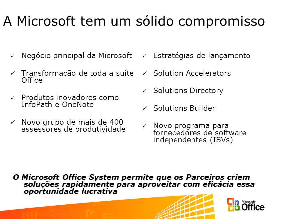 A Microsoft tem um sólido compromisso Negócio principal da Microsoft Transformação de toda a suíte Office Produtos inovadores como InfoPath e OneNote