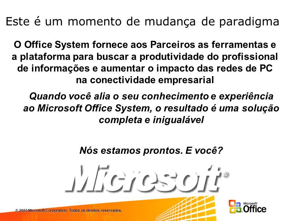 Este é um momento de mudança de paradigma Quando você alia o seu conhecimento e experiência ao Microsoft Office System, o resultado é uma solução completa e inigualável Nós estamos prontos.