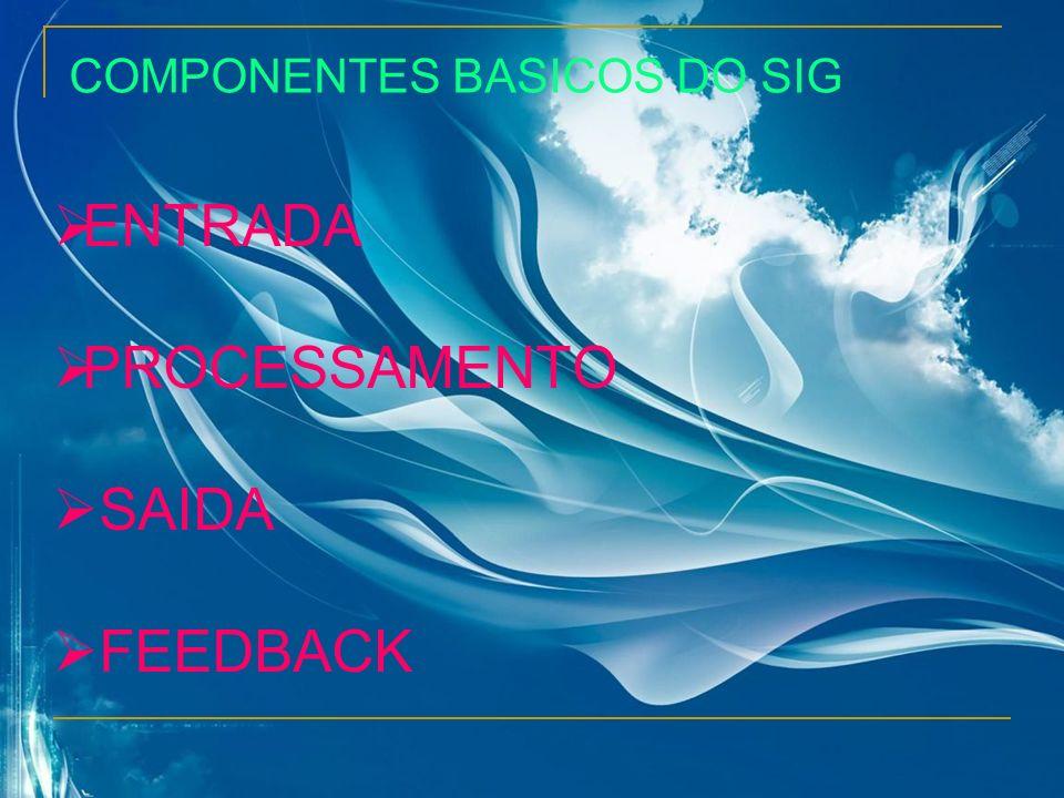 COMPONENTES BASICOS DO SIG ENTRADA PROCESSAMENTO SAIDA FEEDBACK