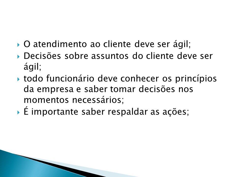 O atendimento ao cliente deve ser ágil; Decisões sobre assuntos do cliente deve ser ágil; todo funcionário deve conhecer os princípios da empresa e sa