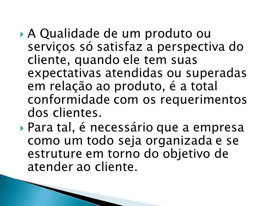 A Qualidade de um produto ou serviços só satisfaz a perspectiva do cliente, quando ele tem suas expectativas atendidas ou superadas em relação ao prod