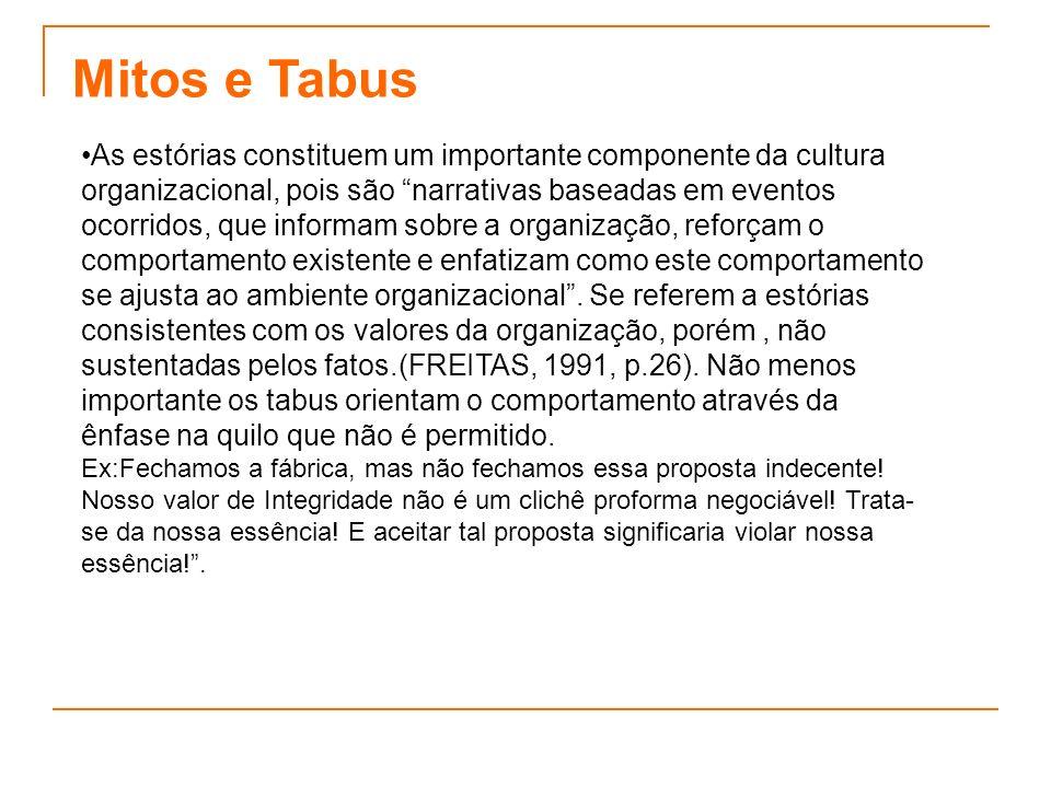 Mitos e Tabus As estórias constituem um importante componente da cultura organizacional, pois são narrativas baseadas em eventos ocorridos, que inform