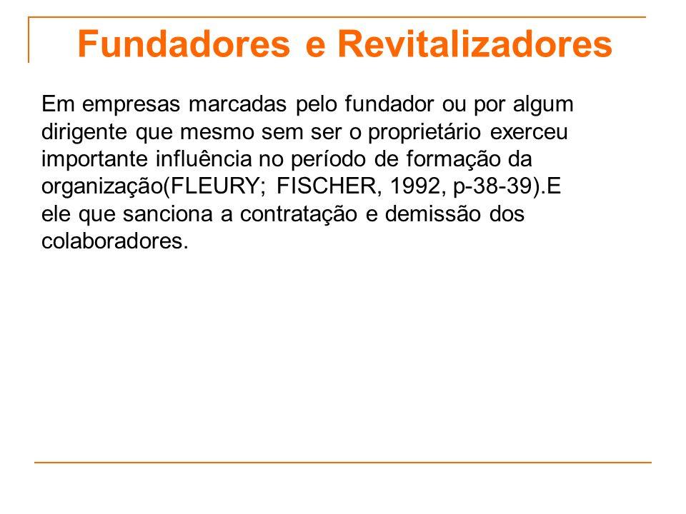 Fundadores e Revitalizadores Em empresas marcadas pelo fundador ou por algum dirigente que mesmo sem ser o proprietário exerceu importante influência