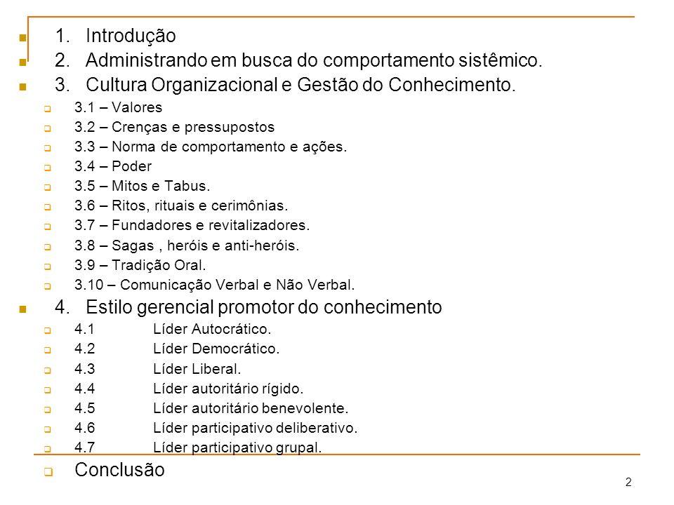 2 1.Introdução 2.Administrando em busca do comportamento sistêmico. 3.Cultura Organizacional e Gestão do Conhecimento. 3.1 – Valores 3.2 – Crenças e p