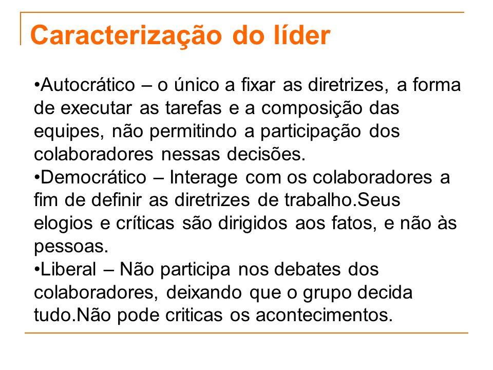 Caracterização do líder Autocrático – o único a fixar as diretrizes, a forma de executar as tarefas e a composição das equipes, não permitindo a parti