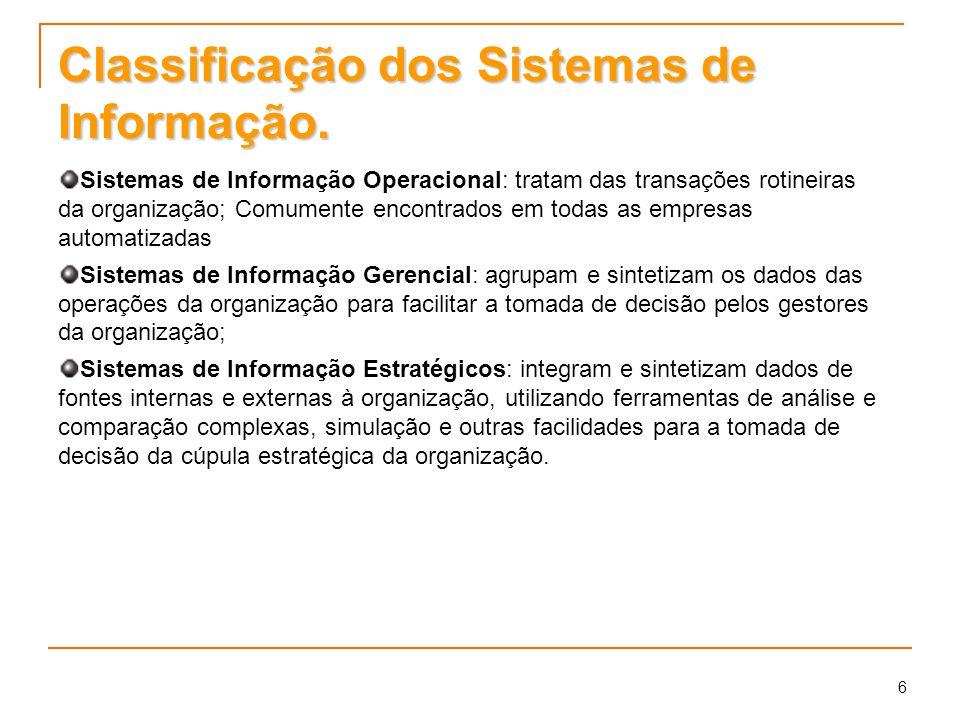 6 Classificação dos Sistemas de Informação. Sistemas de Informação Operacional: tratam das transações rotineiras da organização; Comumente encontrados