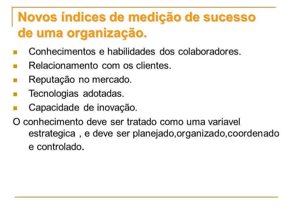 Novos índices de medição de sucesso de uma organização. Conhecimentos e habilidades dos colaboradores. Relacionamento com os clientes. Reputação no me
