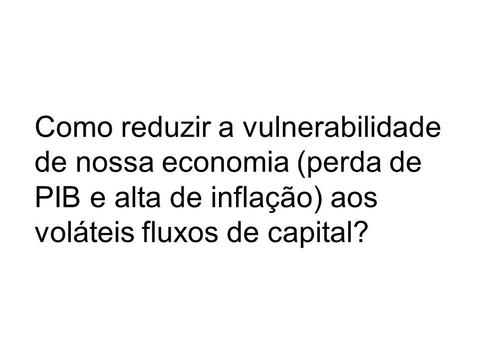 Como reduzir a vulnerabilidade de nossa economia (perda de PIB e alta de inflação) aos voláteis fluxos de capital?