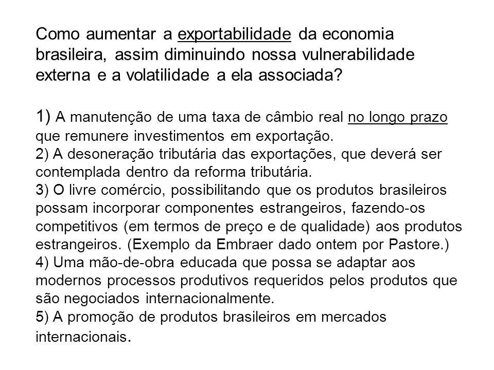 Como aumentar a exportabilidade da economia brasileira, assim diminuindo nossa vulnerabilidade externa e a volatilidade a ela associada.