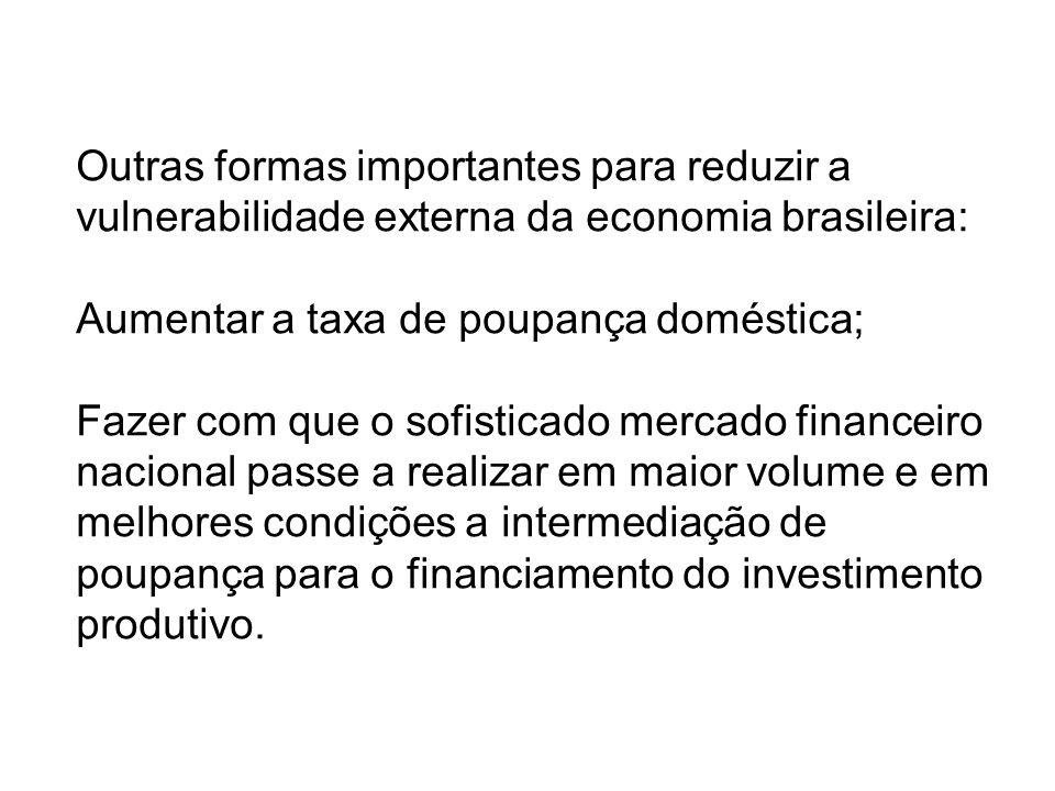 Outras formas importantes para reduzir a vulnerabilidade externa da economia brasileira: Aumentar a taxa de poupança doméstica; Fazer com que o sofisticado mercado financeiro nacional passe a realizar em maior volume e em melhores condições a intermediação de poupança para o financiamento do investimento produtivo.