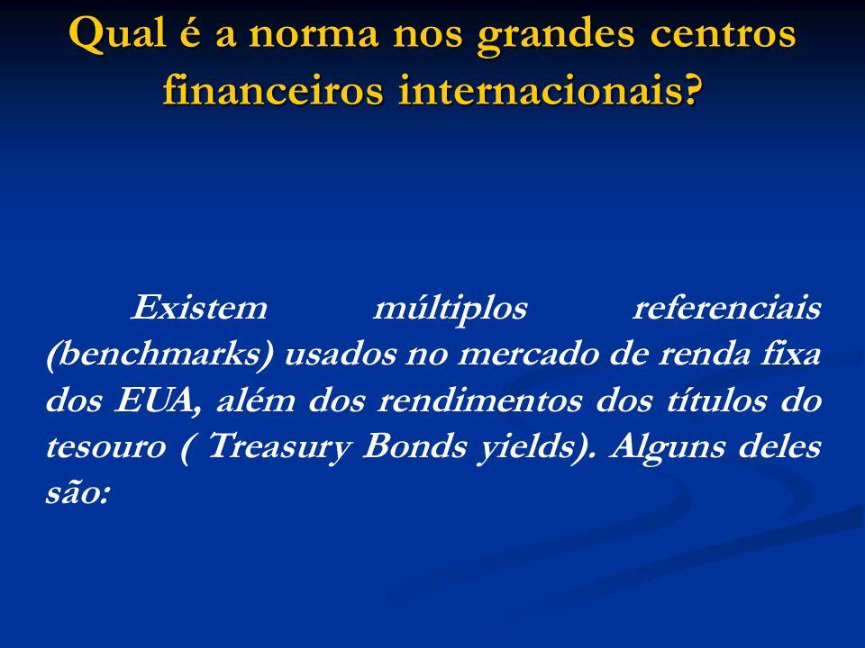Qual é a norma nos grandes centros financeiros internacionais? Existem múltiplos referenciais (benchmarks) usados no mercado de renda fixa dos EUA, al