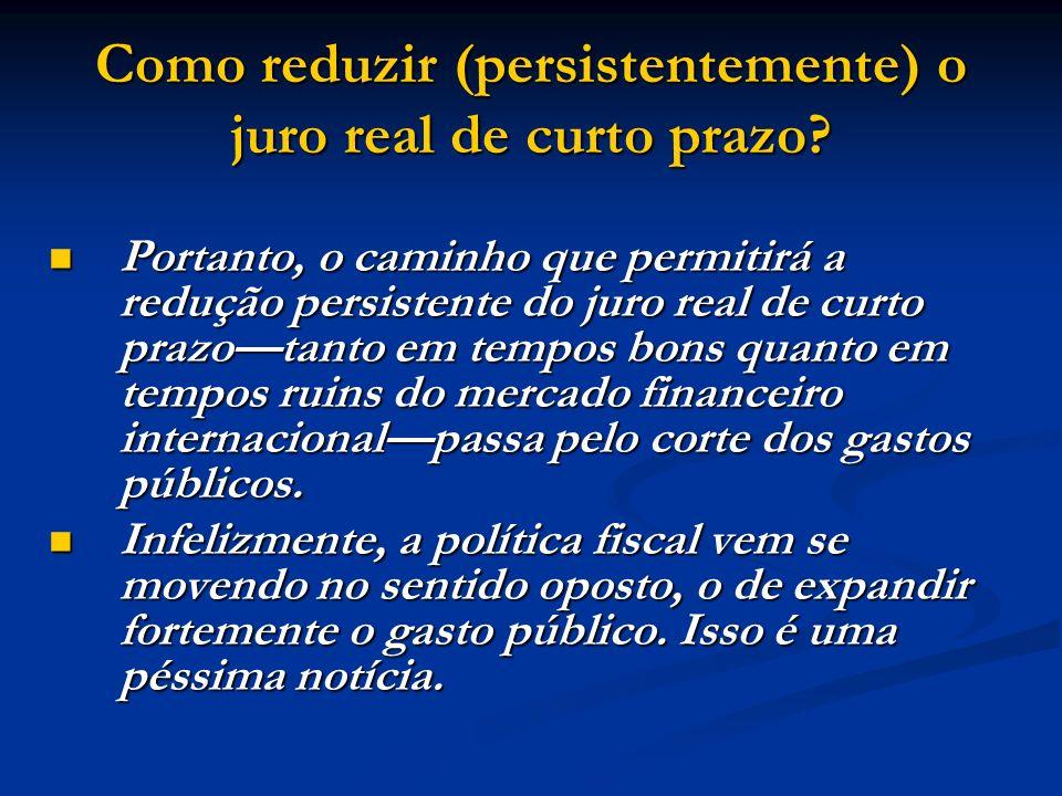 Como reduzir (persistentemente) o juro real de curto prazo? Portanto, o caminho que permitirá a redução persistente do juro real de curto prazotanto e