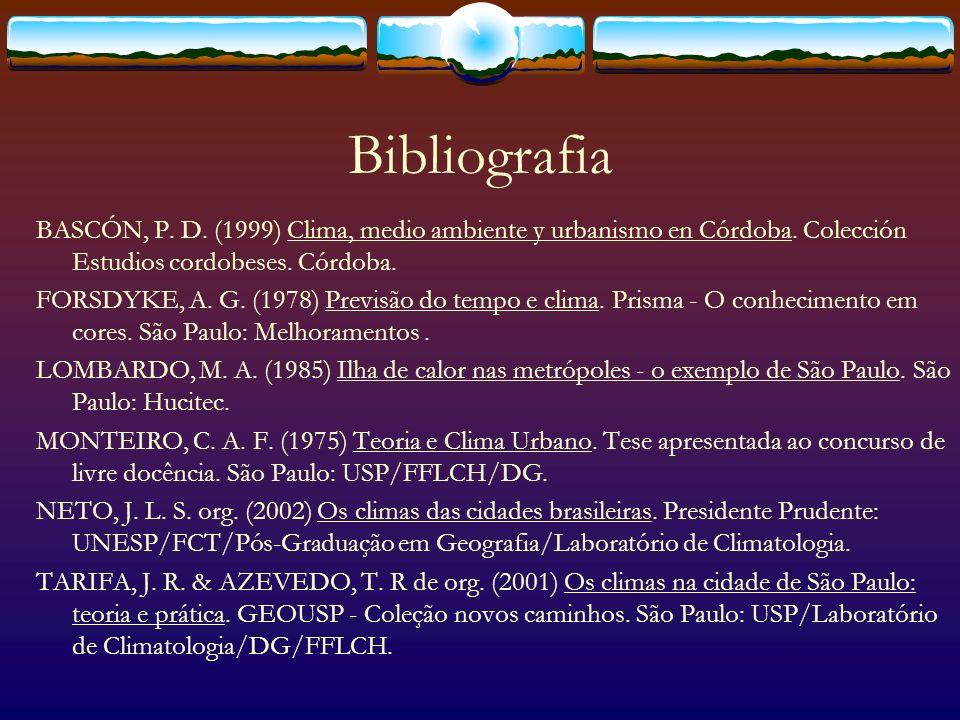 Bibliografia BASCÓN, P. D. (1999) Clima, medio ambiente y urbanismo en Córdoba. Colección Estudios cordobeses. Córdoba. FORSDYKE, A. G. (1978) Previsã