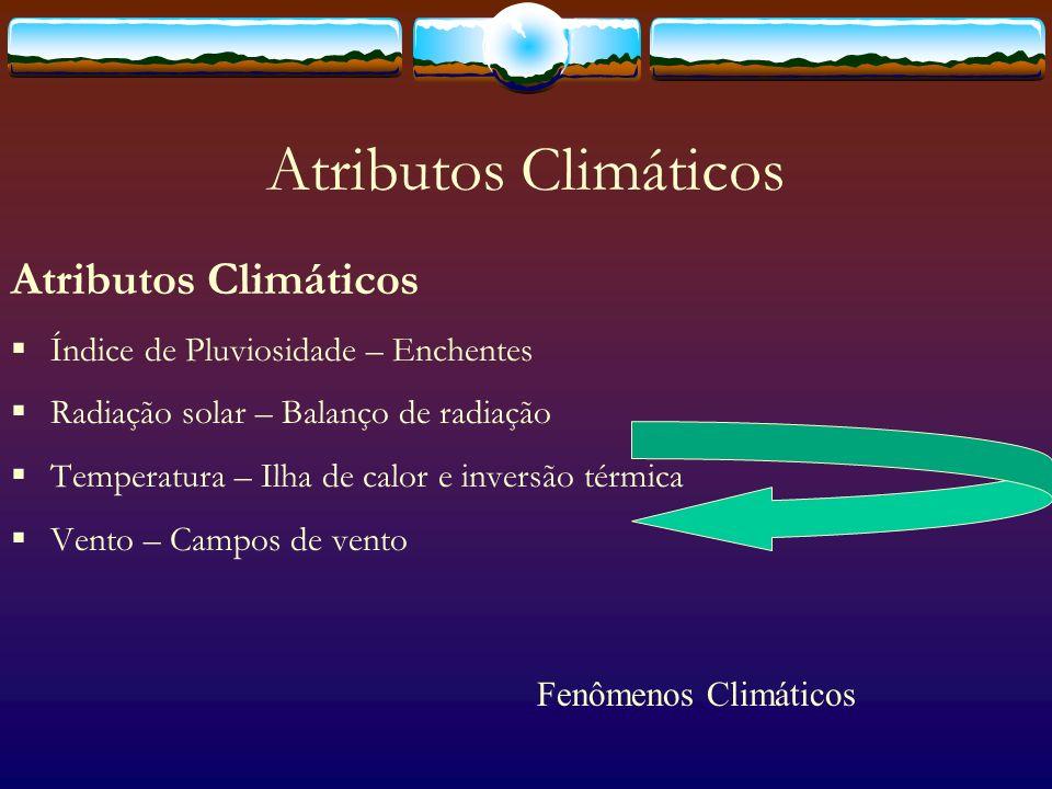 Fenômenos urbanos Ilhas de calor - Variação de temperatura ao longo da mancha urbana; Enchentes - Variação dos índices pluviométricos/aumento do escoamento superficial; Inversão térmica - circulação das massas de ar quente/frio; Campos de vento - variação da pressão atmosférica/ atritos de superfície; Balanço de radiação - acúmulo de energia/variação de temperatura; Chuva ácida - circulação do ar/concentração de poluentes.