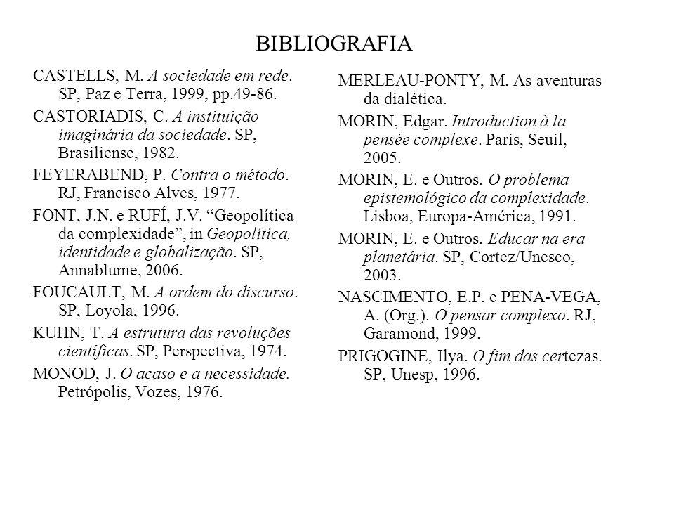 BIBLIOGRAFIA CASTELLS, M. A sociedade em rede. SP, Paz e Terra, 1999, pp.49-86. CASTORIADIS, C. A instituição imaginária da sociedade. SP, Brasiliense