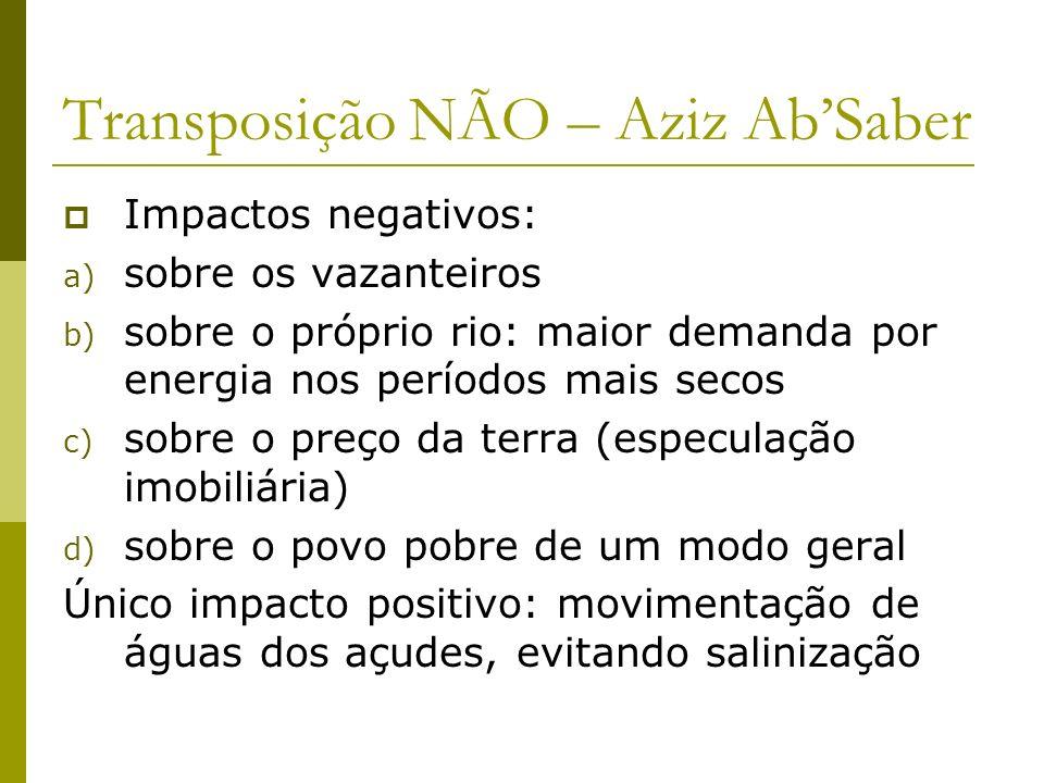 Transposição NÃO – Aziz AbSaber Impactos negativos: a) sobre os vazanteiros b) sobre o próprio rio: maior demanda por energia nos períodos mais secos
