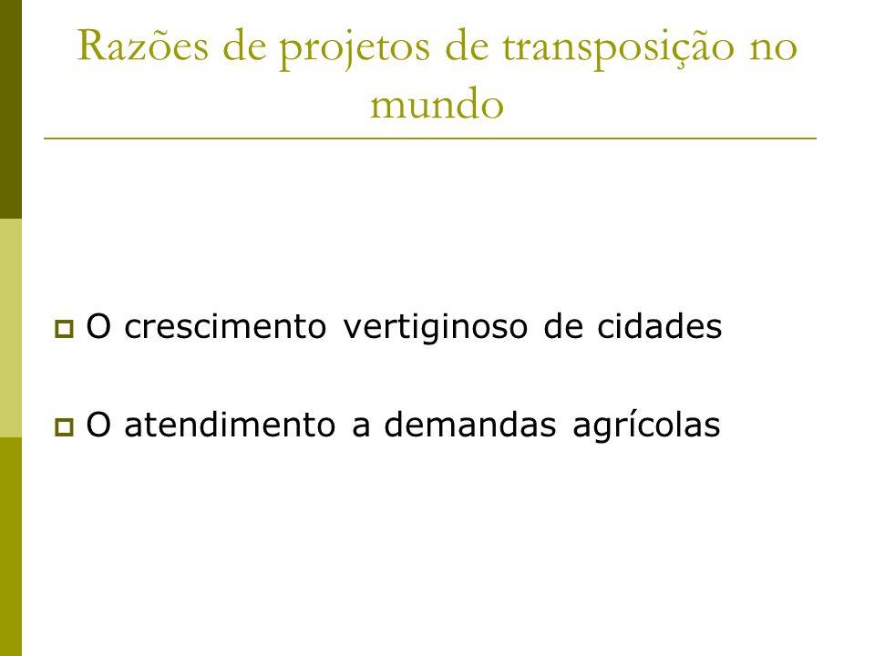 Razões de projetos de transposição no mundo O crescimento vertiginoso de cidades O atendimento a demandas agrícolas