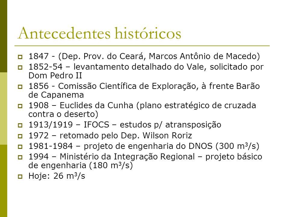 Antecedentes históricos 1847 - (Dep. Prov. do Ceará, Marcos Antônio de Macedo) 1852-54 – levantamento detalhado do Vale, solicitado por Dom Pedro II 1
