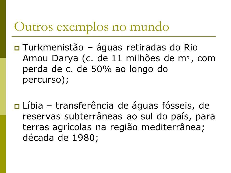 Outros exemplos no mundo Turkmenistão – águas retiradas do Rio Amou Darya (c. de 11 milhões de m 3, com perda de c. de 50% ao longo do percurso); Líbi