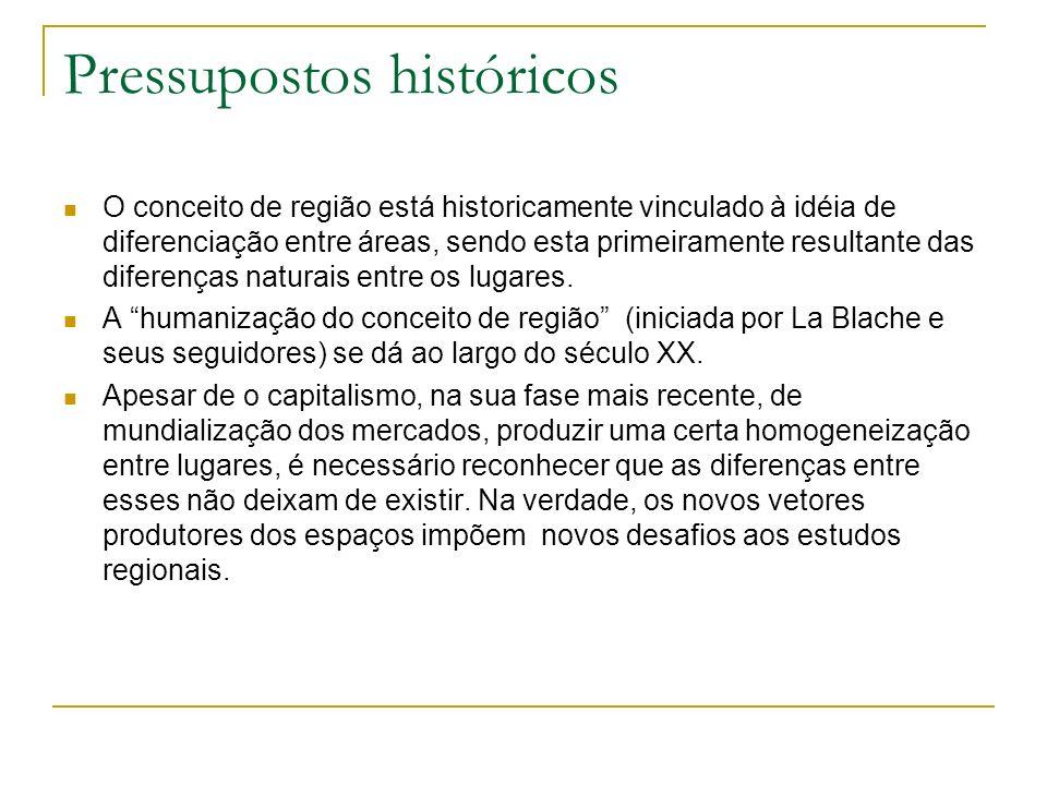 Pressupostos históricos O conceito de região está historicamente vinculado à idéia de diferenciação entre áreas, sendo esta primeiramente resultante d
