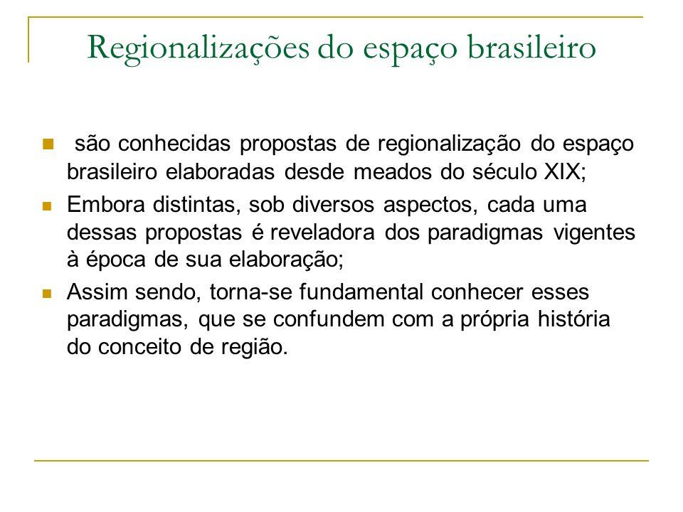 Regionalizações do espaço brasileiro são conhecidas propostas de regionalização do espaço brasileiro elaboradas desde meados do século XIX; Embora dis