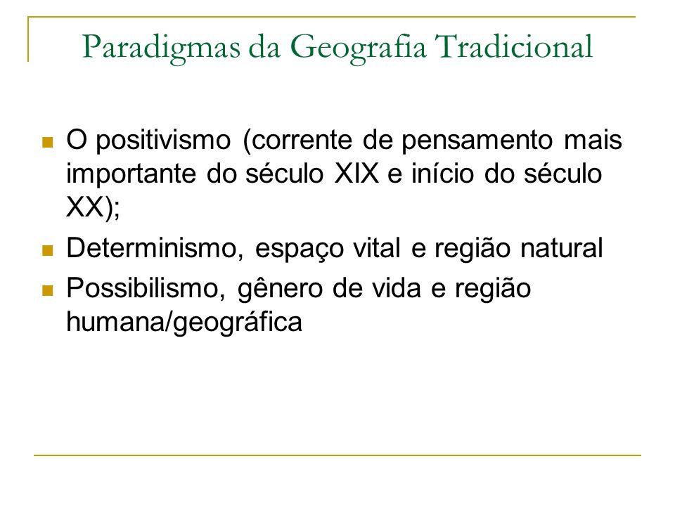 Paradigmas da Geografia Tradicional O positivismo (corrente de pensamento mais importante do século XIX e início do século XX); Determinismo, espaço v