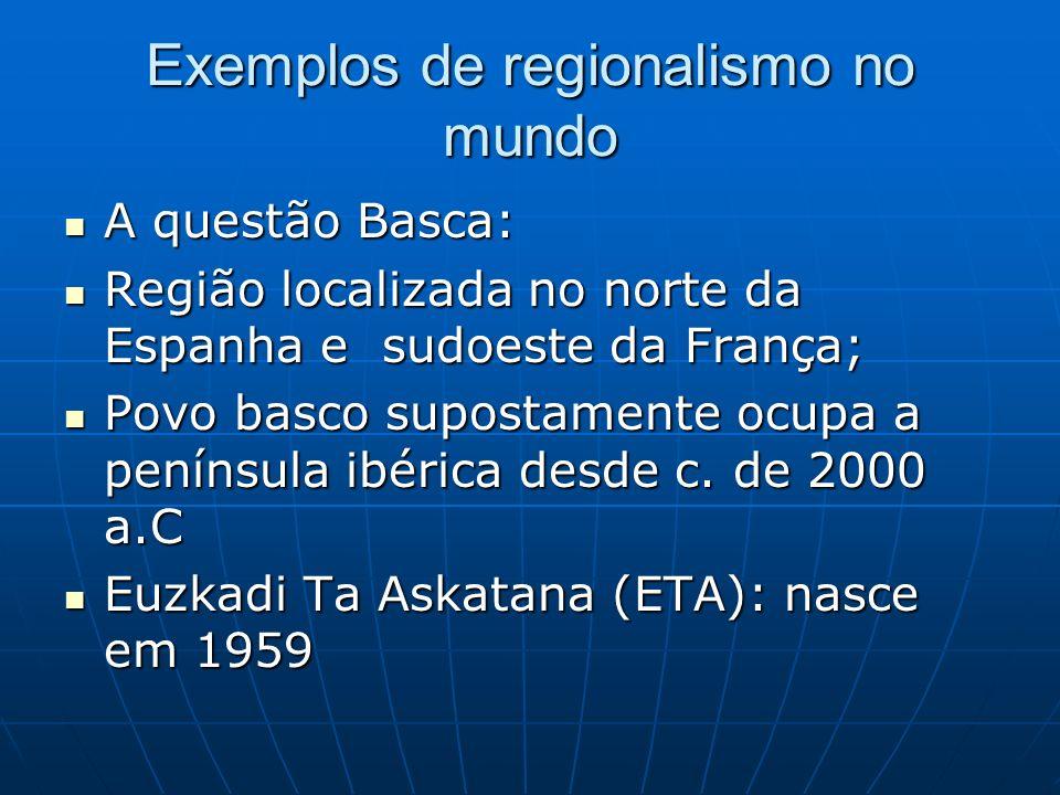 Exemplos de regionalismo no mundo A questão Basca: A questão Basca: Região localizada no norte da Espanha e sudoeste da França; Região localizada no n