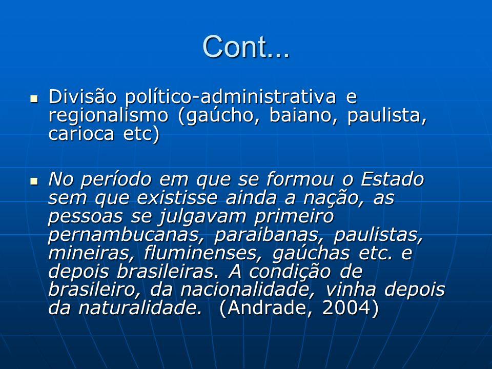 Cont... Divisão político-administrativa e regionalismo (gaúcho, baiano, paulista, carioca etc) Divisão político-administrativa e regionalismo (gaúcho,