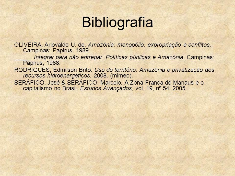 Bibliografia OLIVEIRA, Ariovaldo U. de. Amazônia: monopólio, expropriação e conflitos. Campinas: Papirus, 1989. _____. Integrar para não entregar. Pol