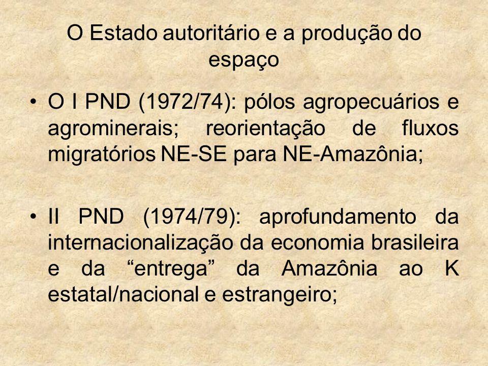 O Estado autoritário e a produção do espaço O I PND (1972/74): pólos agropecuários e agrominerais; reorientação de fluxos migratórios NE-SE para NE-Am
