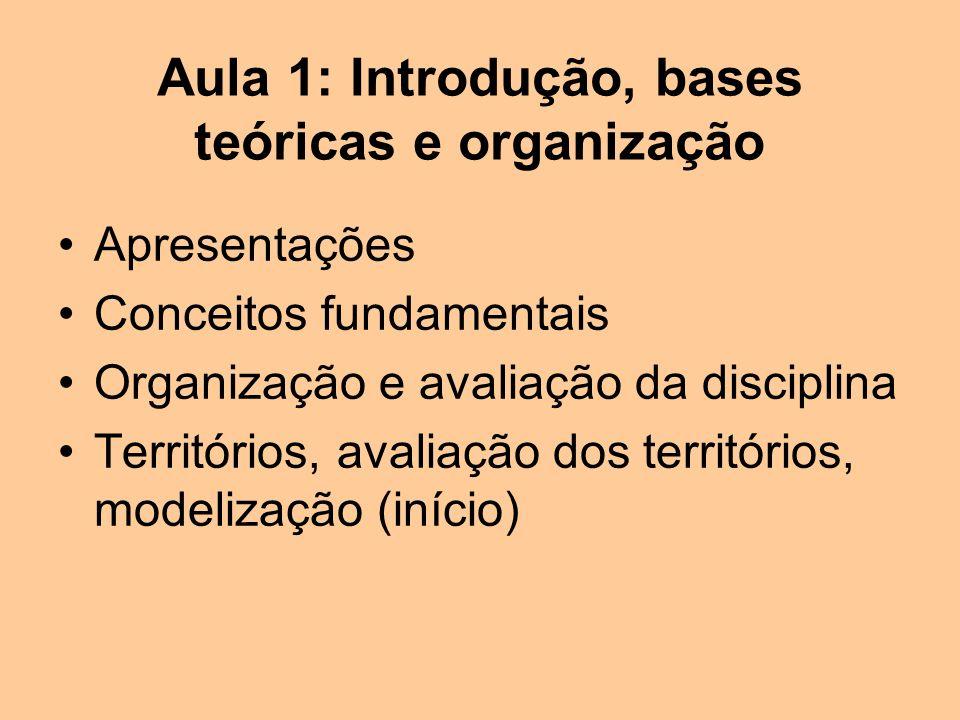 Aula 1: Introdução, bases teóricas e organização Apresentações Conceitos fundamentais Organização e avaliação da disciplina Territórios, avaliação dos territórios, modelização (início)