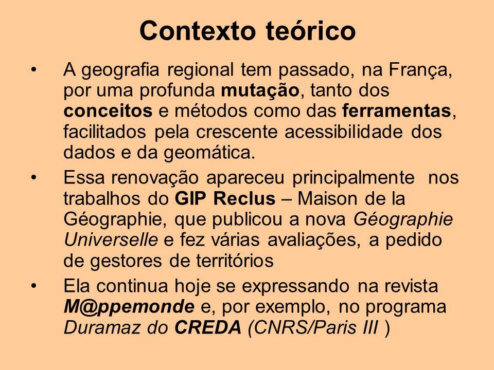 A geografia regional tem passado, na França, por uma profunda mutação, tanto dos conceitos e métodos como das ferramentas, facilitados pela crescente acessibilidade dos dados e da geomática.
