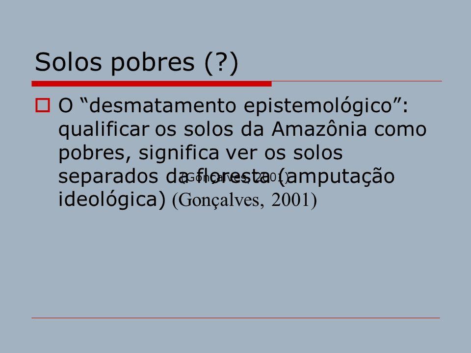 Solos pobres (?) O desmatamento epistemológico: qualificar os solos da Amazônia como pobres, significa ver os solos separados da floresta (amputação i