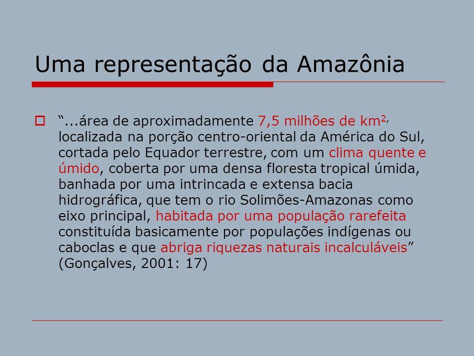 Uma representação da Amazônia...área de aproximadamente 7,5 milhões de km 2, localizada na porção centro-oriental da América do Sul, cortada pelo Equa