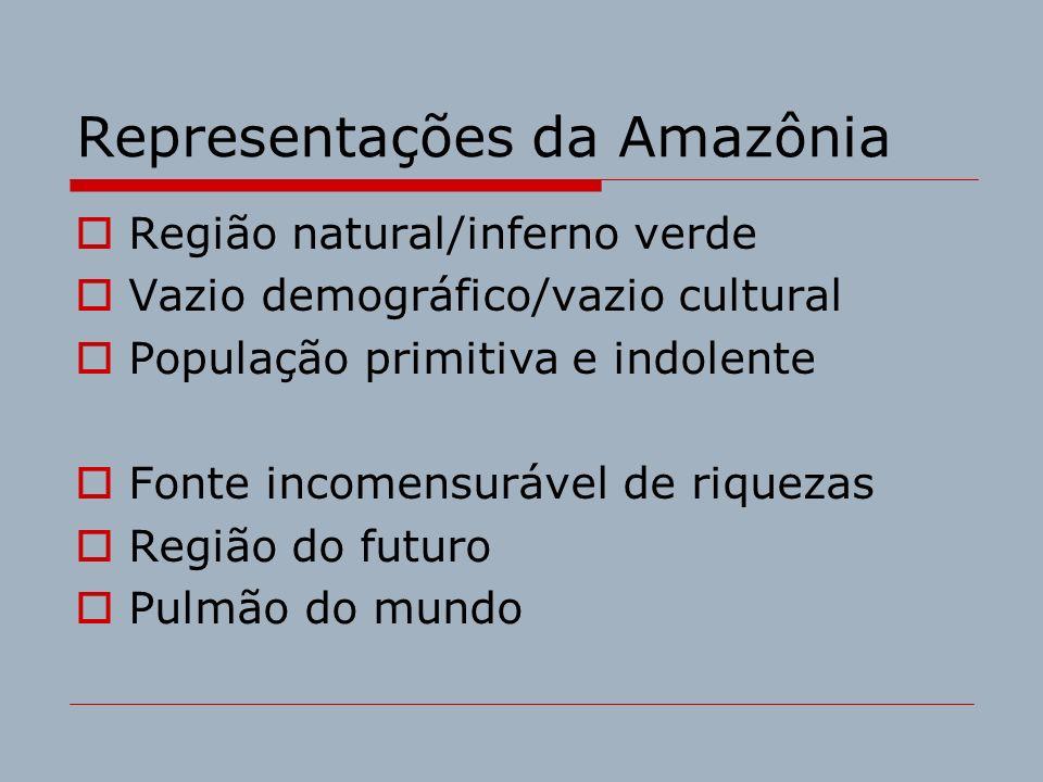Representações da Amazônia Região natural/inferno verde Vazio demográfico/vazio cultural População primitiva e indolente Fonte incomensurável de rique