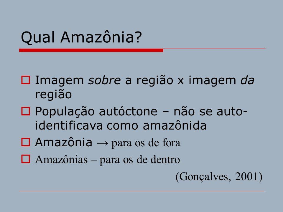 Qual Amazônia? Imagem sobre a região x imagem da região População autóctone – não se auto- identificava como amazônida Amazônia para os de fora Amazôn