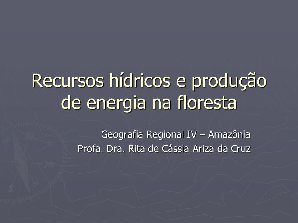 Recursos hídricos e produção de energia na floresta Geografia Regional IV – Amazônia Profa. Dra. Rita de Cássia Ariza da Cruz