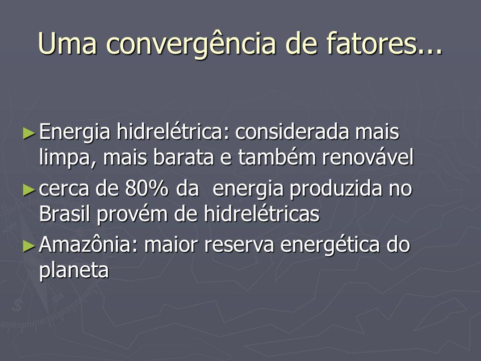 Uma convergência de fatores... Energia hidrelétrica: considerada mais limpa, mais barata e também renovável Energia hidrelétrica: considerada mais lim