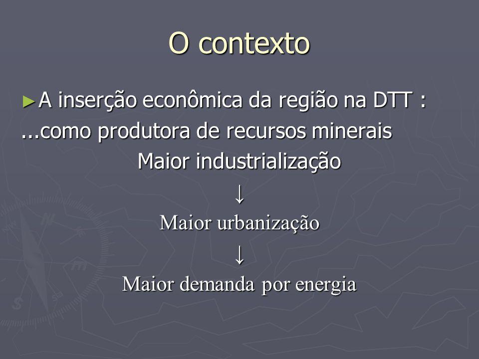 O contexto A inserção econômica da região na DTT : A inserção econômica da região na DTT :...como produtora de recursos minerais Maior industrialização Maior urbanização Maior demanda por energia