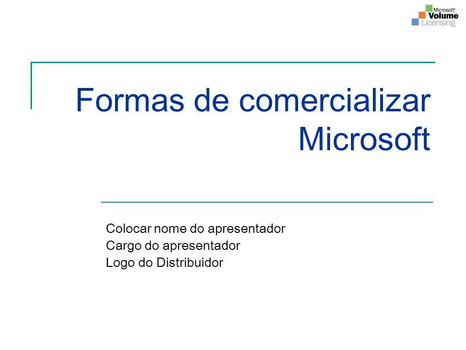 Formas de comercializar Microsoft Colocar nome do apresentador Cargo do apresentador Logo do Distribuidor