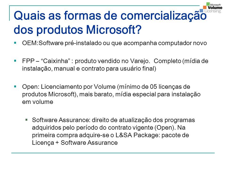 Quais as formas de comercialização dos produtos Microsoft? OEM:Software pré-instalado ou que acompanha computador novo FPP – Caixinha : produto vendid
