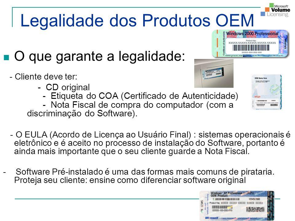 Legalidade dos Produtos OEM O que garante a legalidade: - Cliente deve ter: - CD original - Etiqueta do COA (Certificado de Autenticidade) - Nota Fisc