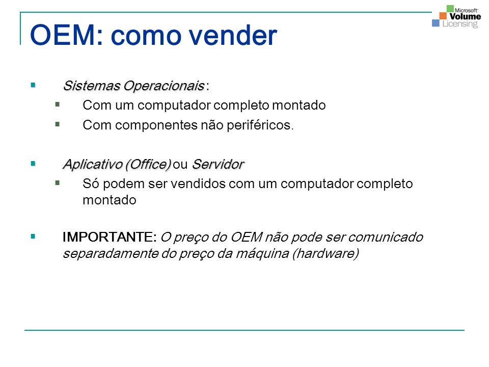 OEM: como vender Sistemas Operacionais Sistemas Operacionais : Com um computador completo montado Com componentes não periféricos. Aplicativo (Office)