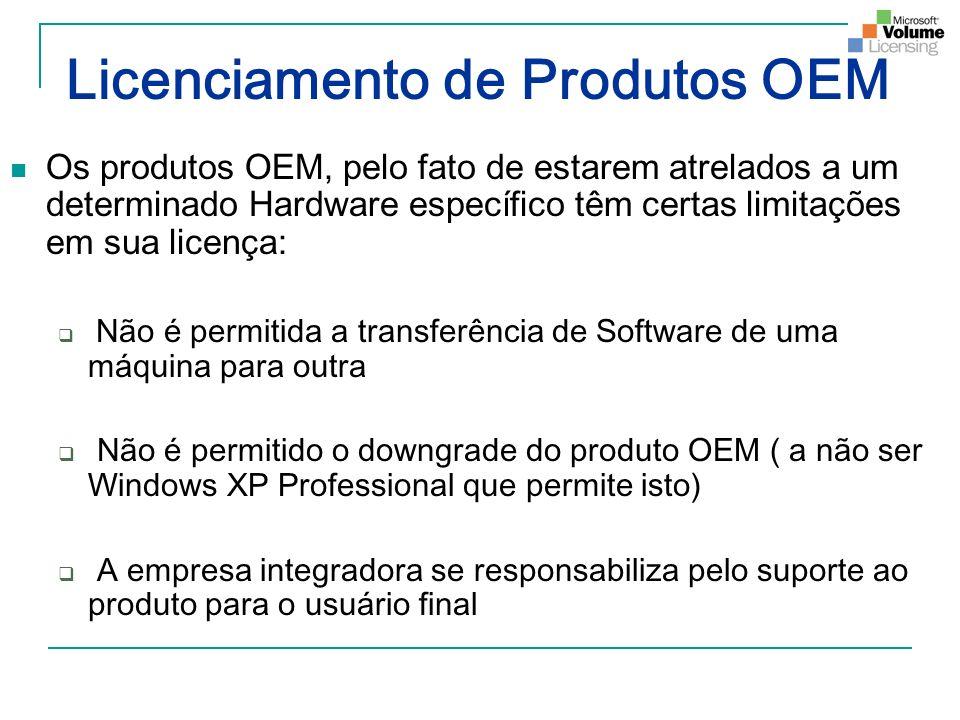 Licenciamento de Produtos OEM Os produtos OEM, pelo fato de estarem atrelados a um determinado Hardware específico têm certas limitações em sua licenç