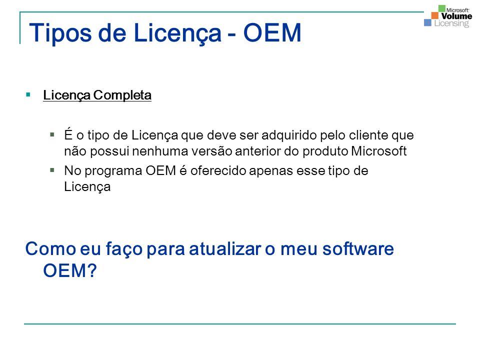 Tipos de Licença - OEM Licença Completa É o tipo de Licença que deve ser adquirido pelo cliente que não possui nenhuma versão anterior do produto Micr