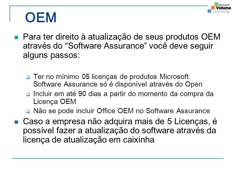 OEM Para ter direito à atualização de seus produtos OEM através do Software Assurance você deve seguir alguns passos: Ter no mínimo 05 licenças de pro