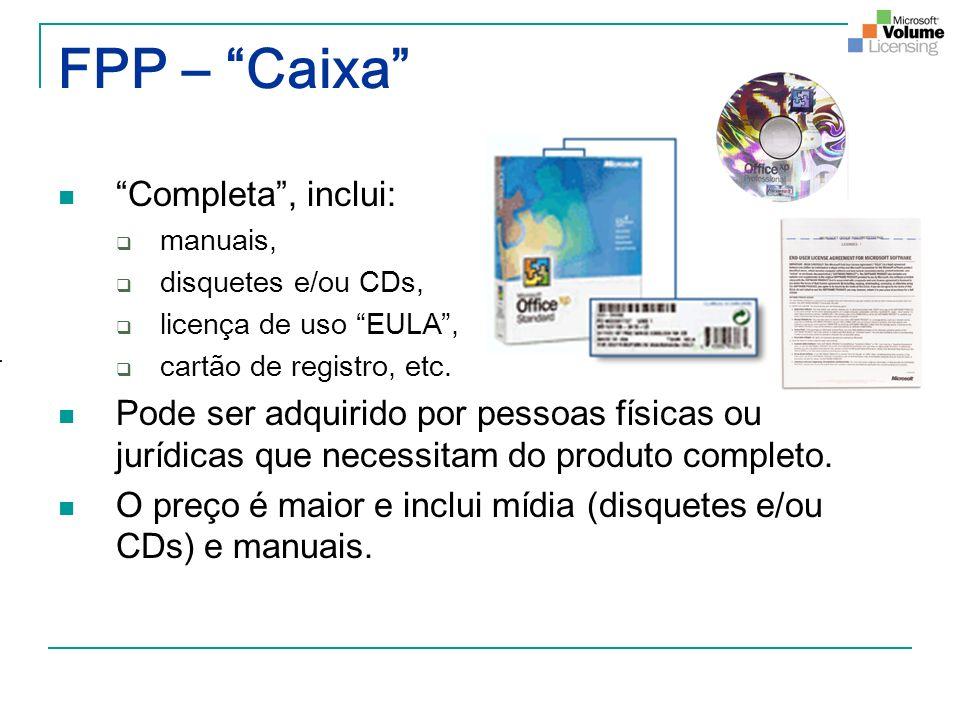 FPP – Caixa Completa, inclui: manuais, disquetes e/ou CDs, licença de uso EULA, cartão de registro, etc. Pode ser adquirido por pessoas físicas ou jur