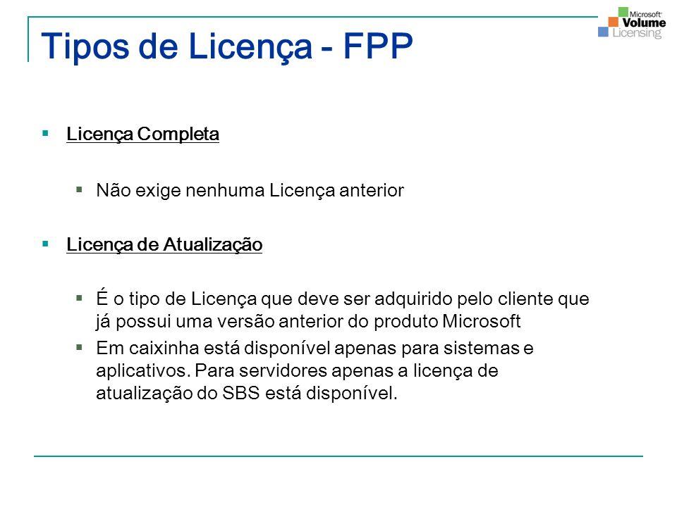 Tipos de Licença - FPP Licença Completa Não exige nenhuma Licença anterior Licença de Atualização É o tipo de Licença que deve ser adquirido pelo clie