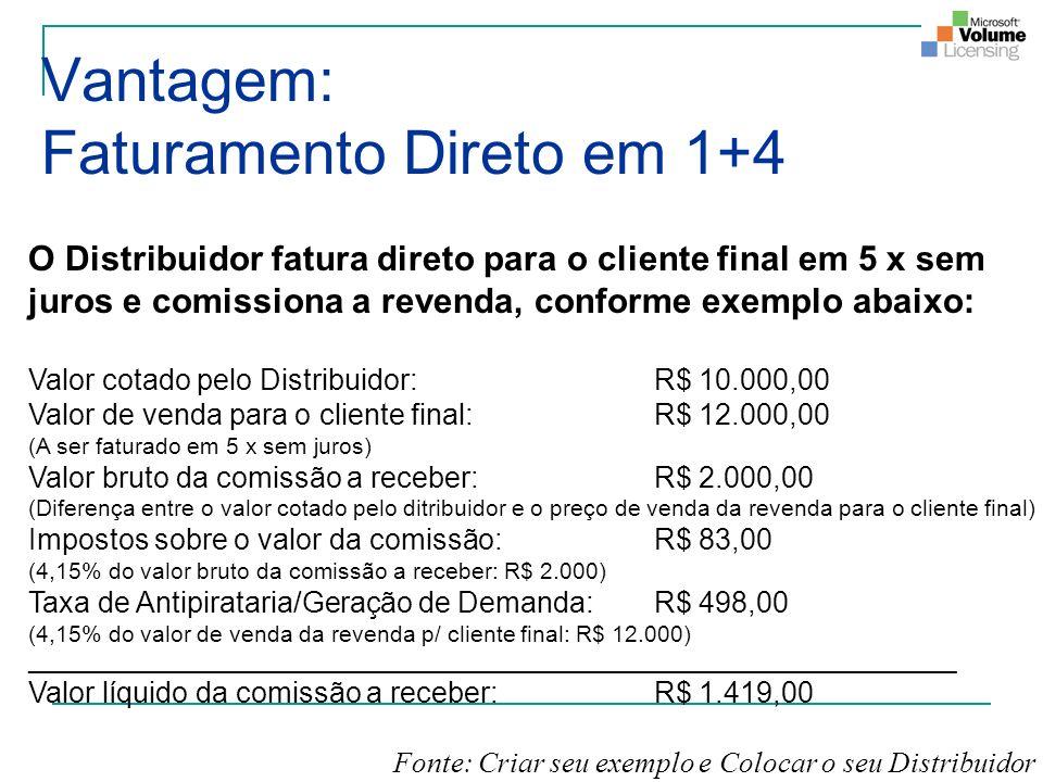 O Distribuidor fatura direto para o cliente final em 5 x sem juros e comissiona a revenda, conforme exemplo abaixo: Valor cotado pelo Distribuidor: R$