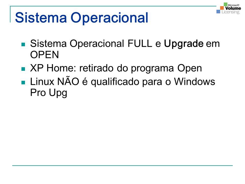 Sistema Operacional Sistema Operacional FULL e Upgrade em OPEN XP Home: retirado do programa Open Linux NÃO é qualificado para o Windows Pro Upg